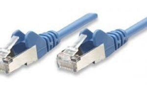Cable de parcheo INTELLINET, 0,5 m, RJ-45, RJ-45, Macho/Macho, Azul